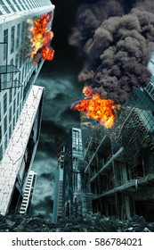 Detailed destruction of fictitious city with fires, explosion, shattered glass and rubble. Concept of war, natural disasters, judgment day, fire, nuclear accident or terrorism. Vertical orientation.