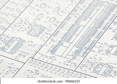 Detailed drawing of electrical circuits