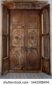 Detailed engraved Old Wooden Door