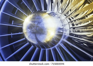 A detailed exposition of the turbojet engine, toned in blue and yellow tones.