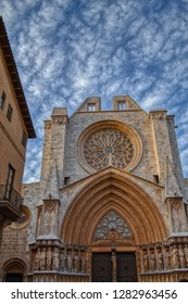 Detailed front view of Church in Sitges, Tarragona, Spain. Old gothic church with blue sky on the background. Historical part of the Tarragona town.