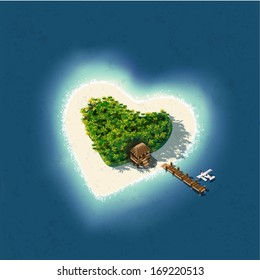 Detailed illustration of a Heart Shaped Tropical Island for romantic vacation or valentines.