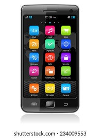 Detailed illustration of modern black glossy touchscreen smartphone with colorful interface isolated on white background with reflection effect