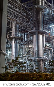 Detailed image of a chemical plant at night