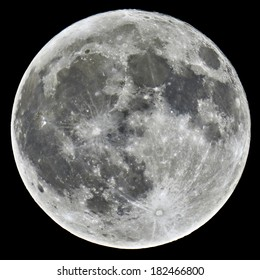 A detailed image of a full Moon taken with an astronomical telescope