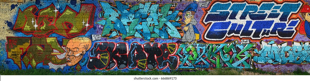 """A detailed image of the graffiti drawing. A conceptual street art background with a colorful letter graffiti with word """"Brake"""" and """"Street culture"""""""