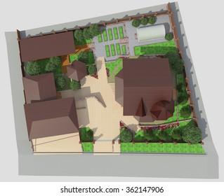 Detailed landscape design elements