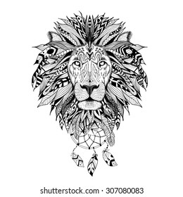 Detailed Lion in aztec style.