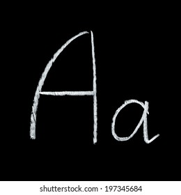 Detailed macro shot of chalkboard letter A isolated on black