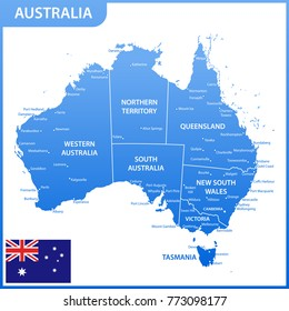 the detailed map of the australia with regions or states and cities capitals national