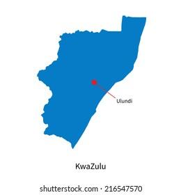 Detailed map of KwaZulu and capital city Ulundi