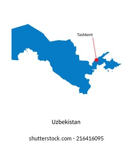 Detailed map of Uzbekistan and capital city Tashkent