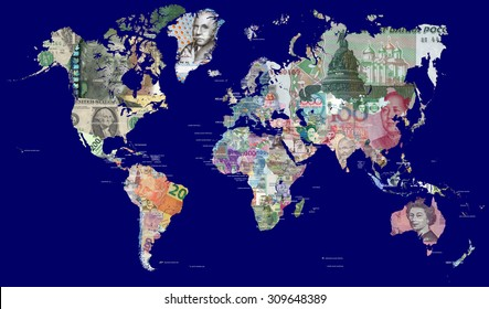 Detailed map of the world in all the world's currencies.  Each country is represented with one of its most recently issued banknotes  Full resolution file is about 30 megapixels in size.