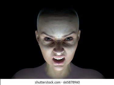 Detailed model, bald and angry. 3D Rendered Illustration.