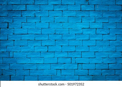 Detailed old blue brick wall background texture