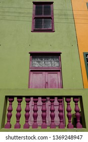 Detailed photo of houses in the Malay Quarter, Bo-Kaap, Cape Town, South Africa. Historical area of brightly painted houses in the city centre occupied largely by the Moslem community.