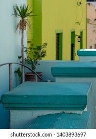 Detailed photo of houses in the Malay Quarter, Bo-Kaap, Cape Town, South Africa. Historical area of brightly painted houses in the city centre.