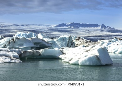 Detailed photo of the Icelandic glacier iceberg in a ice lagoon