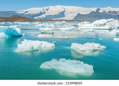 Detailed photo of the Icelandic glacier icebergs in a ice lagoon with vivid colors and a nice texture