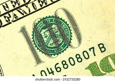 Detailed photo of U.S. hundred dollar bill, macro shot