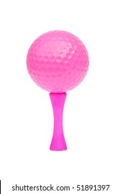 Detailed photograph of a bright pink golf ball and tee, isolated on a pure white background.