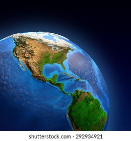 Detailed picture of the Earth and its landforms, view of American continent. Elements of this image furnished by NASA