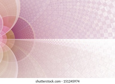 Detailed pink, purple and orange abstract checkered arch design on white background