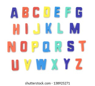 Detailed plastic letters on a pure white background. Shadows have been modified so they will remain even when rearranged into copy.