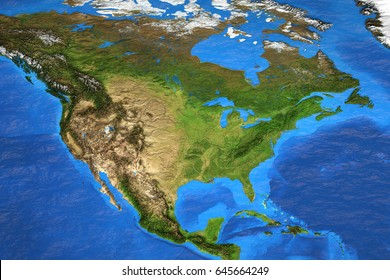 Detailed satellite view of the Earth and its landforms in summer. North America map. Elements of this image furnished by NASA