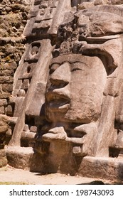 Detailed section from the temple of the mask, Mayan ruins at Lamanai, Belize