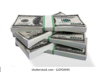 Detailed shot of bundles of US dollar currency notes  on white background.