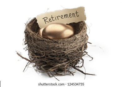 Detailed shot of shiny golden eggs with retirement paper in animal nest against white background.