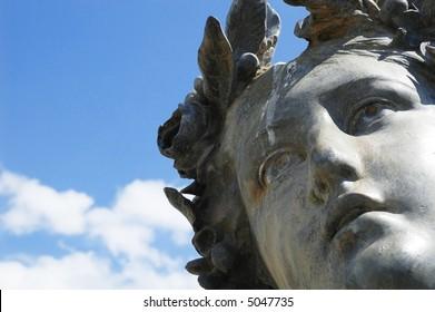 Detailed shot of a statue of a greek goddess