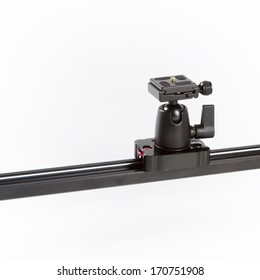 A detailed studio shot of a linear camera slider on a white background.