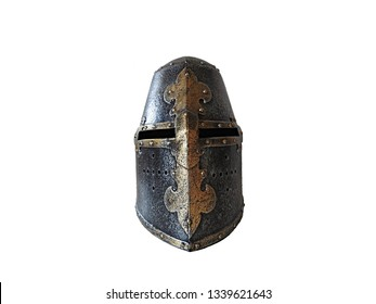 Detailed and textured medieval Crusader Templar Knight steel helmet with golden cross front view. Middle Ages warfare concept and abstract object on white background with copy space