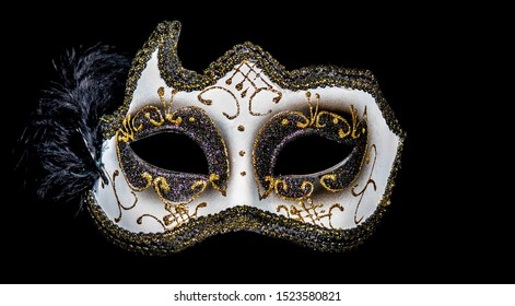 Detailed Theater Mask with Black Feather