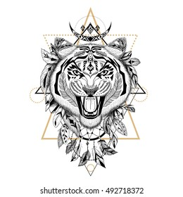 Detailed Tiger in aztec style. Raster.