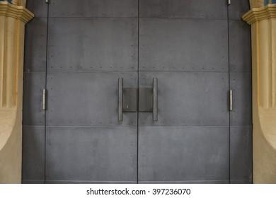 Detailed view of ancient iron door