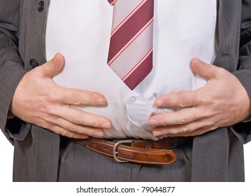 Detailed view of belly fat man in a suit. Thick businessman showing abdomen. Obese person holds his fat belly.