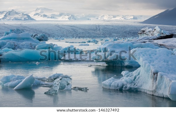 Detailed view of blue icebergs floating in Jokulsarlon glacial lagoon, Iceland