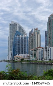 Detailed view of the business district of Panama City, Panama.