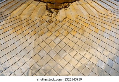 Detailed view of church golden dome. Reflection on metal. Russian architecture