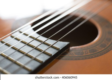 Detailed view of a classic guitar strings
