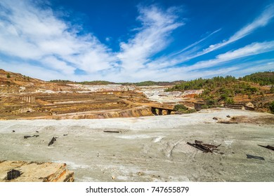 Detailed view of copper mine open pit in Rio Tinto, Spain