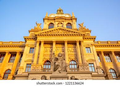 Detailed view of Czech National Museum in Prague, Czech Republic.