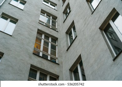 detailed view of dirty white facade