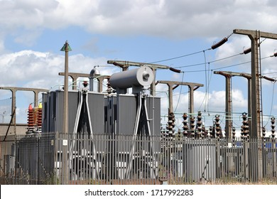 Detailed View of Electricity Sub Station Supply Facility against Blue Sky