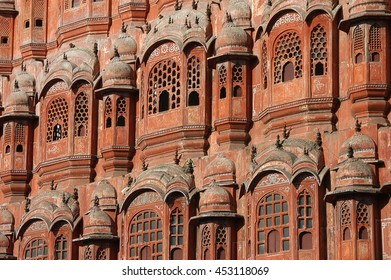 Detailed view of the exterior windows of the Hawa Mahal or Palace of the Winds in the city of Jaipur , India
