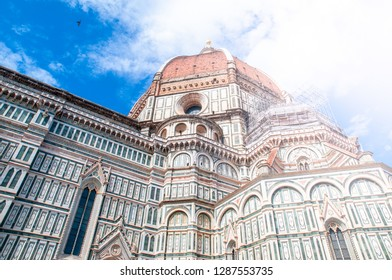 Detailed view of Florence Catherdal, Cattedrale di Santa Maria del Fiore or Il Duomo di Firenze, with ornamental mosaic, Firenze, Tuscany, Italy.