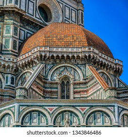 Detailed view of Florence Catherdal, Cattedrale di Santa Maria del Fiore or Il Duomo di Firenze, with ornamental mosaic, Firenze, Tuscany, Italy